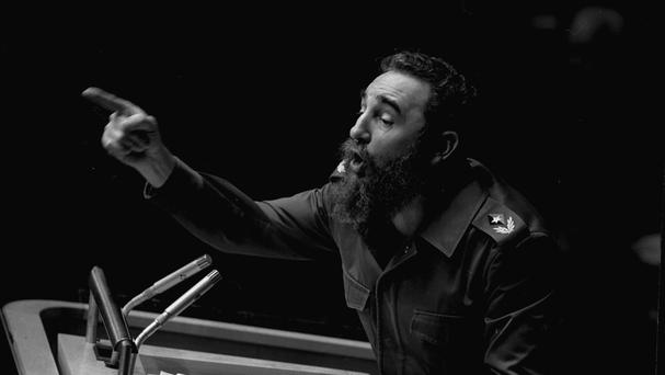 Fidel Castro pictured speaking at the United Nations General Assembly in New York in October 1979, as the former Cuban president has died aged 90 (AP)