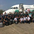 Chapecoense players and officials in front of the jet before the tragedy