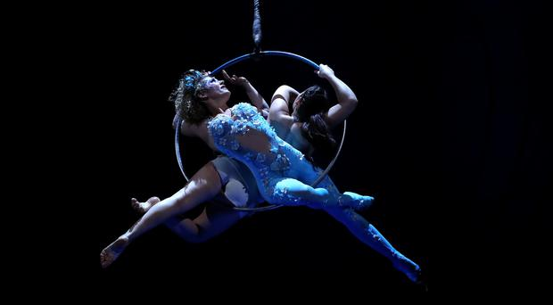 Artists perform during Cirque Du Soleil's Amaluna show