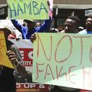 A group of protesters demonstrating against the introduction of bond notes in Harare (AP)