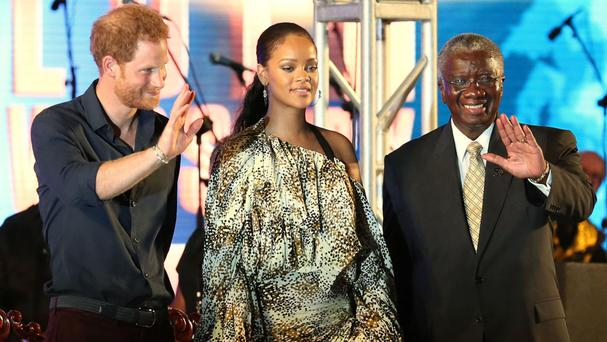 Prince Harry, Rihanna and prime minister Freundel Stuart at the concert in Bridgetown