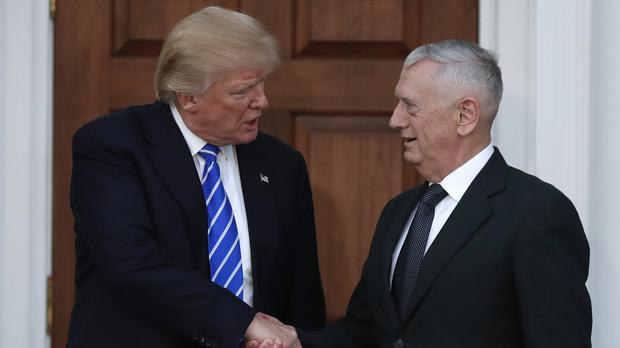 Donald Trump bids farewell to retired marine corps general James Mattis in New Jersey (AP)