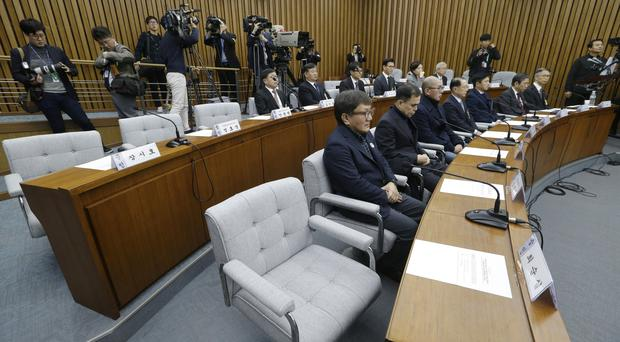 The empty seat of Choi Soon-sil during a hearing at the National Assembly in Seoul (AP)