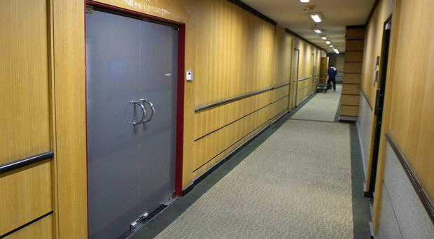 The Thai offices of the BBC are locked and unoccupied with their signage removed in central Bangkok (AP)