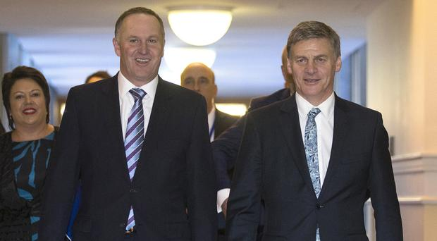 John Key and Bill English ahead of the Budget 2016 speech in Wellington (New Zealand Herald/AP)