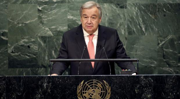 The United Nations Secretary General designate Antonio Guterres speaks during his swearing-in ceremony (AP)