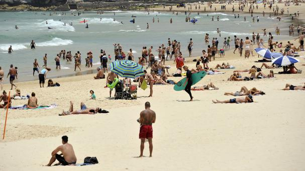 Sun lovers swelter at Sydney's Bondi Beach (AAP/AP)