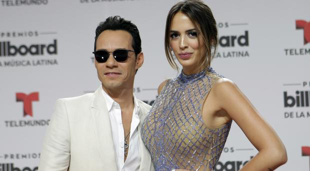 Marc Anthony and wife Shannon de Lima at the Latin Billboard Awards in Coral Gables, Florida (AP)