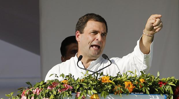 India's opposition Congress party vice-president Rahul Gandhi addresses a rally in Mehsana (AP)