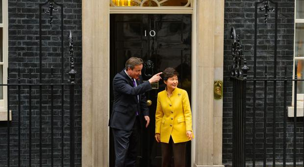 Park Geun-Hye pictured during a visit to Downing Street