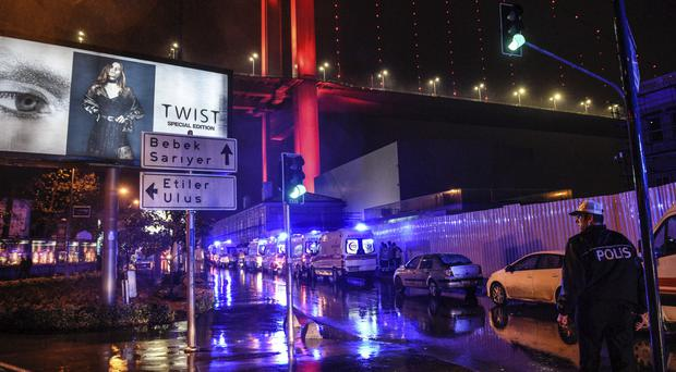 Ambulances at the scene of the attack at the nightclub in Istanbul's Ortakoy district (AP)