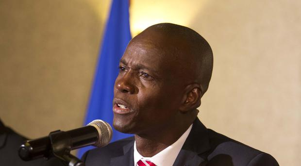 President-elect Jovenel Moise talks during his first press conference after the announcement of his victory in Petion-Ville, Haiti (AP/Dieu Nalio Chery)