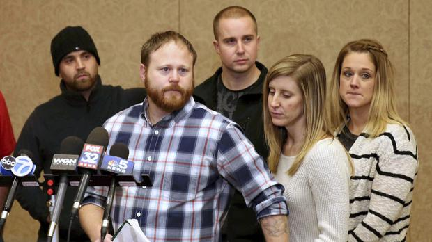 The family of the victim hold a news conference in Crystal Lake, Illinois (Daily Herald/AP)
