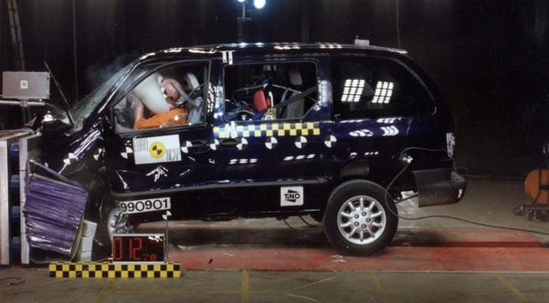 The Chrysler Voyager during frontal and impact tests