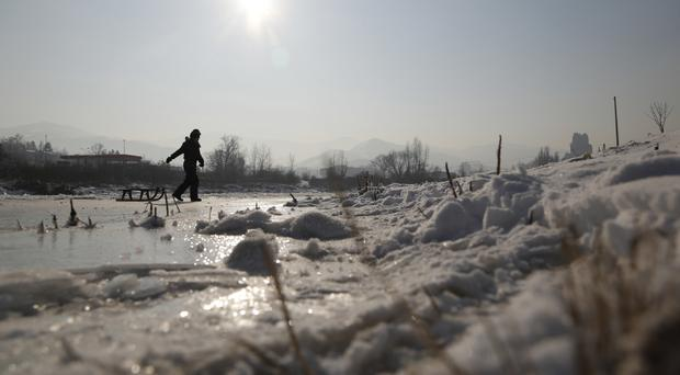 A cold snap has hit across Europe. (AP/Amel Emric)