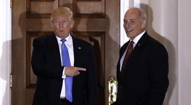 President-elect Donald Trump with his pick for homeland security secretary John Kelly (AP Photo/Carolyn Kaster)