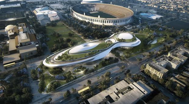 An impression of the proposed museum near the Coliseum in LA's Exposition Park (Lucas Museum of Narrative Art /AP)