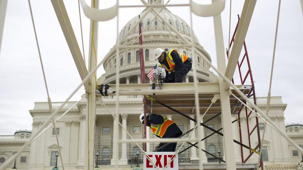 Preparations for the inauguration and swearing-in ceremonies for President-elect Donald Trump on the Capitol steps in Washington (Pablo Martinez Monsivais/AP)