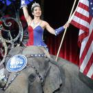 An Asian elephant performs for the final time in the Ringling Bros and Barnum & Bailey Circus in Providence, Rhode Island, in May 2016 (AP)