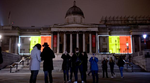 The National Gallery in London was lit up in the colours of the Belgium flag after the attacks in Brussels last March