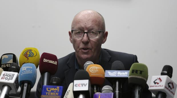 Jamie McGoldrick at a press conference in Sanaa, Yemen (AP/Hani Mohammed)