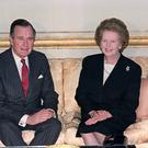 US President George HW Bush with British Prime Minister Margaret Thatcher