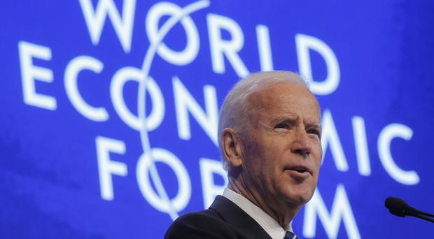 Joe Biden speaking at the World Economic Forum in Davos, Switzerland (AP/Michel Euler)