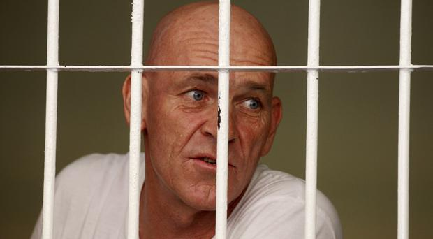 British national and former news correspondent David Fox in his cell in Bali, Indonesia (AP)
