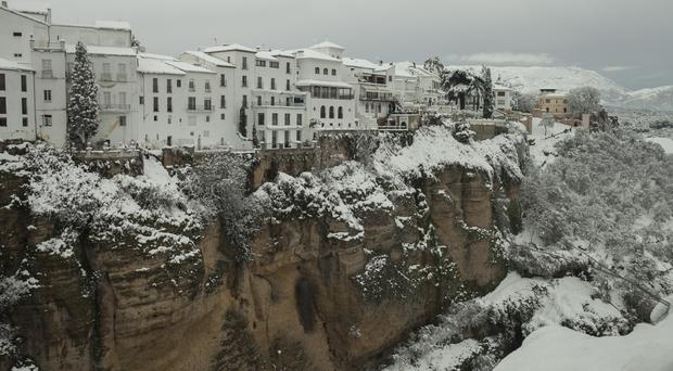 Snow in the town of Ronda, southern Spain (AP/Javier Gonzalez)