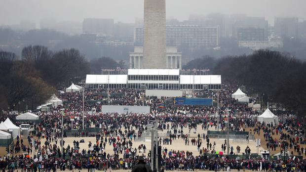 A crowd is seen on the National Mall with the Washington Monument and Lincoln Memorial in the background during the Women's March on Washington (AP Photo/Alex Brandon)