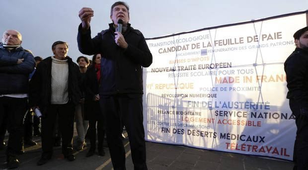 Arnaud Montebourg speaks during a meeting (AP Photo/Claude Paris)
