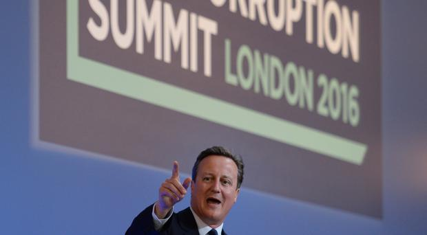 Former prime minister David Cameron speaks at the 2016 Anti-Corruption Summit in London