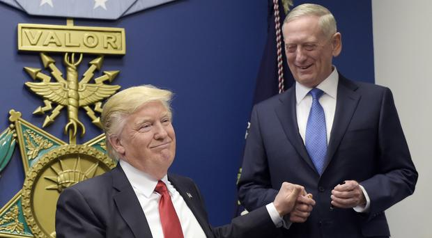 Jim Mattis (right) said Donald Trump wanted to emphasise the importance of the relationship between the US and South Korea (AP)