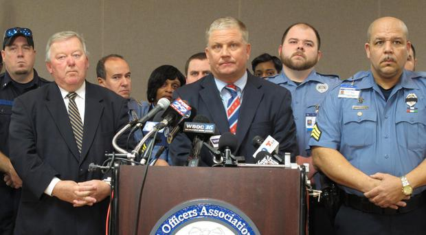 Geoffrey Klopp, president of the Correctional Officers Association of Delaware, speaks about the disturbance at the prison during which a guard was killed (AP Photo/Brian Witte)