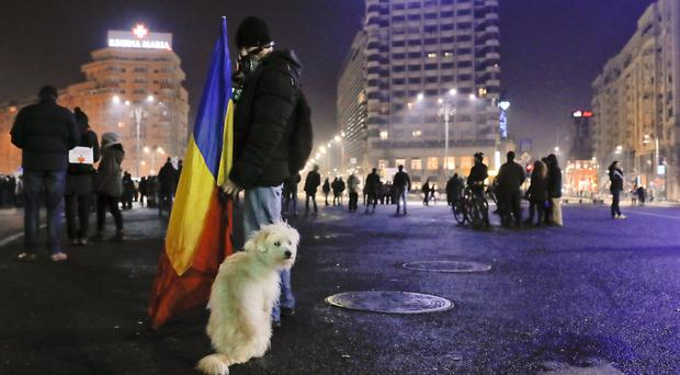 A man holds a Romanian flag as his dog sits next to him at the end of a protest in Bucharest against a government decree that dilutes what qualifies as corruption (AP)