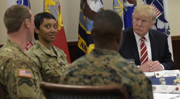 President Trump lunches with troops at US Central Command and US Special Operations Command at MacDill Air Force Base, Florida (AP)