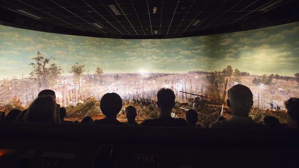 Visitors view the Atlanta Cyclorama, the colossal Civil War painting in Atlanta (David Goldman/AP)