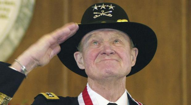 Lt Gen Hal Moore pictured in 2004 (AP)
