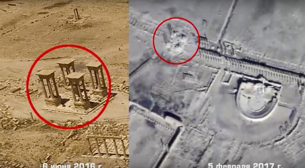 This photo combo, made from footage taken from the Russian defence ministry official website, purports to show the Tetrapylon in Palmyra, Syria (Russian Defence Ministry Press Service, via AP)