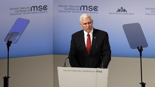 Mike Pence speaks addresses the Munich Security Conference (AP)