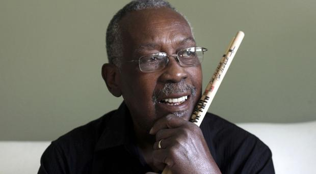 Clyde Stubblefield pictured in October 2013 as the drummer for James Brown has died aged 73 (John Hart/Wisconsin State Journal/AP)