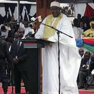 President Adama Barrow of Gambia speaks during his inauguration ceremony in Banjul (AP Photo/Kuku Marong)