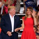 President Donald Trump and wife Melania in Florida on Saturday