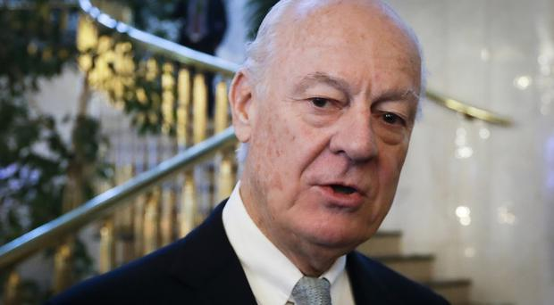 Staffan de Mistura is holding talks with opposing sides in the Syria conflict (AP/Sergei Grits)