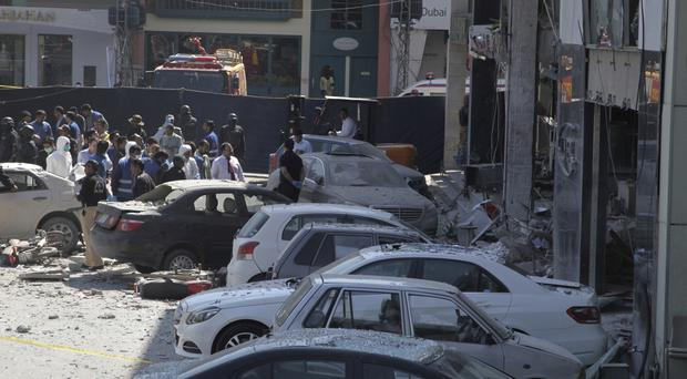 Police cordon off the area of the explosion in Lahore, Pakistan, (AP/KM Chaudary)