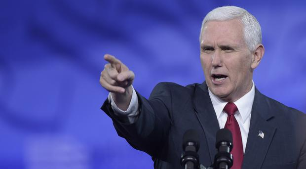 US vice president Mike Pence makes his point at the Conservative Political Action Conference (AP)