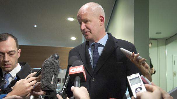 Britain's deputy UN ambassador Peter Wilson addresses the press before a Security Council meeting on North Korea (AP)