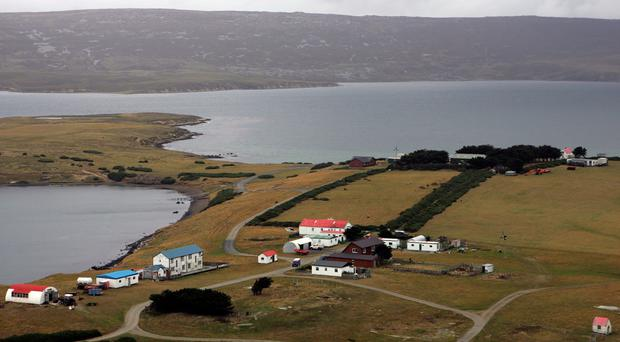 File photo dated 01/02/07 of San Carlos in the Falkland Islands, as Britain and Argentina have agreed to work together to remove restrictions on shipping, fishing and the oil and gas industry affecting the Falklands, the Foreign Office has said.