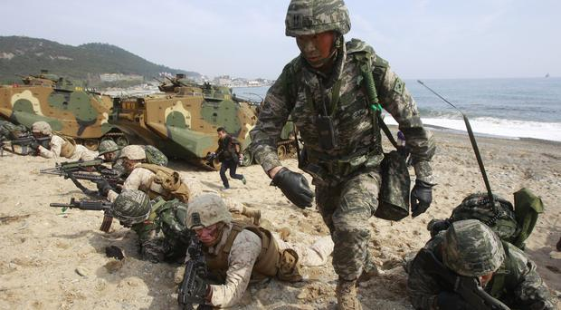 South Korea is staging huge joint military drills with the US (AP)