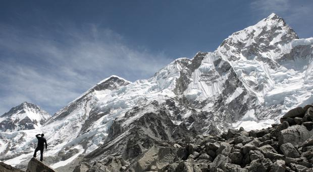 Thousands of foreign trekkers hike up to the base camp during the spring and autumn season